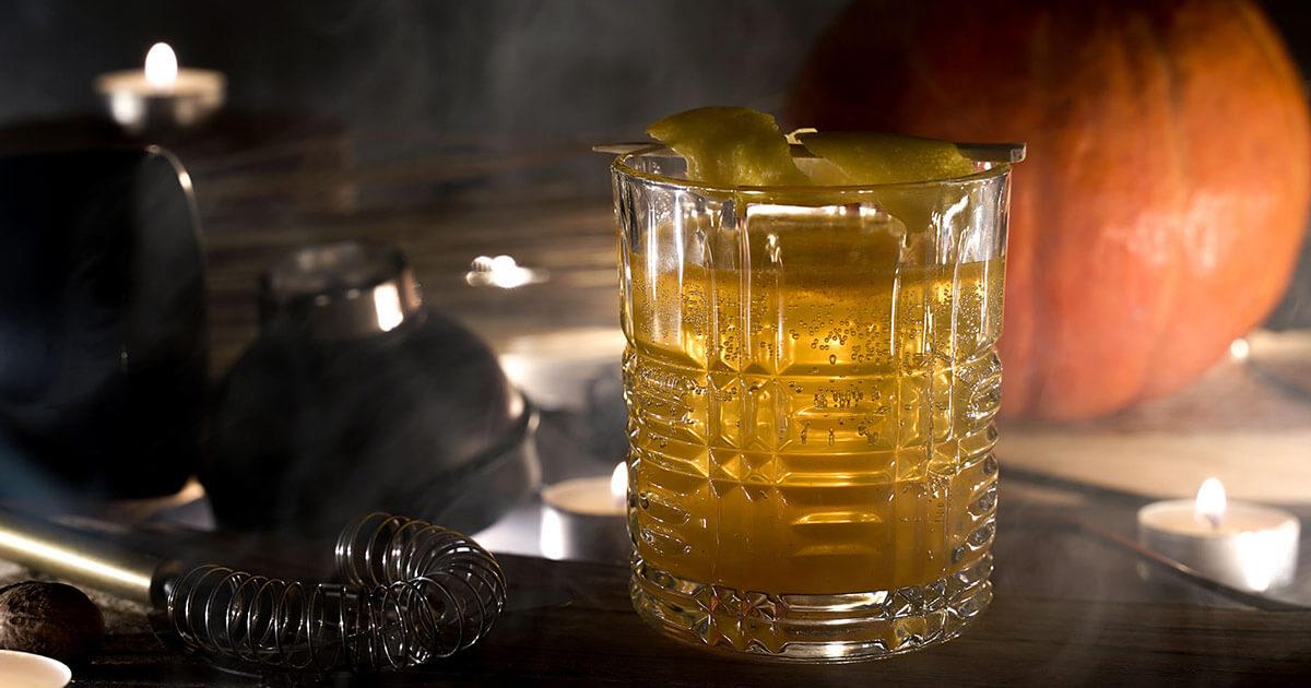 Pumpkin Gin Sour Halloween Cocktail